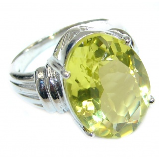 Vintage Style 45 CT Citrine .925 Sterling Silver handmade Cocktail Ring s. 7 3/4