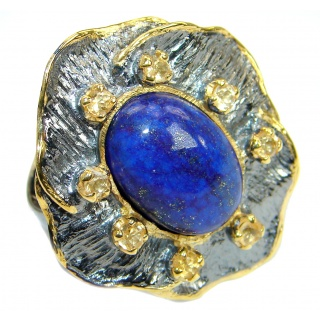 Genuine Lapis Lazuli 14K Gold Rhodium over .925 Sterling Silver handmade Ring size 7 adjustable