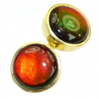 Red Aura Fire Ammolite gold over .925 Sterling Silver handmade 15 mm stud earrings
