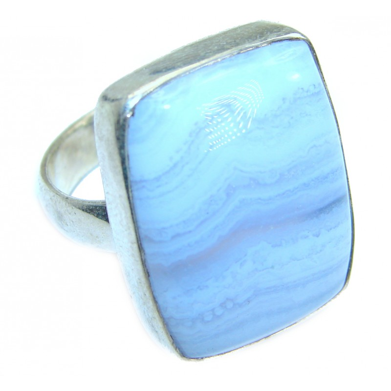 Excellent quality Crazy Lace Agate Sterling Silver Ring s. 9