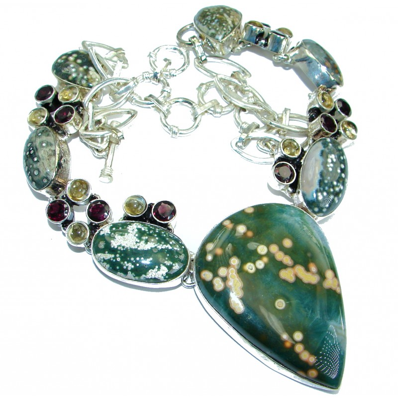 Huge Genuine Ocean Jasper .925 Sterling Silver handcrafted necklace