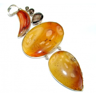 Jumbo 5 inches long Best quality Montana Agate .925 Sterling Silver handcrafted Pendant