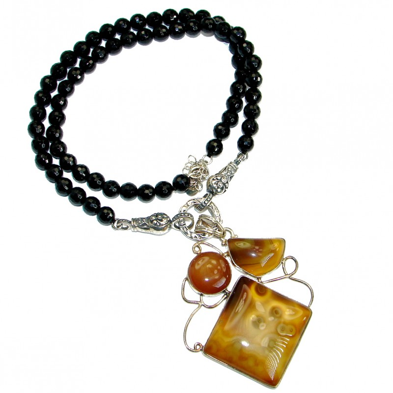 Fine Art Aura Of Beauty Natural Botswana Agate .925 Sterling Silver handmade necklace
