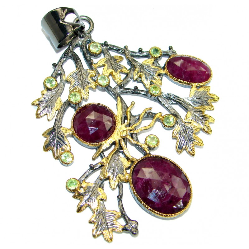 Vintage Style Ruby 14K Gold .925 Sterling Silver handmade Pendant