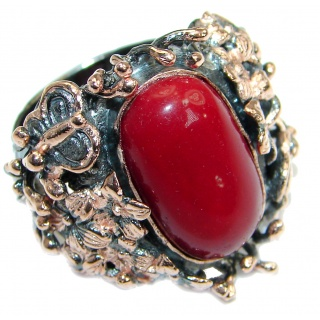 Natural Fossilized Coral two tones .925 Sterling Silver handmade ring s. 8