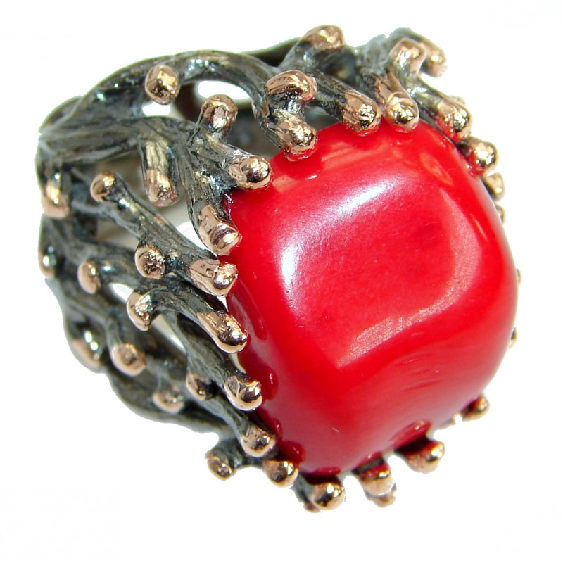 Natural Fossilized Coral two tones .925 Sterling Silver handmade ring s. 7