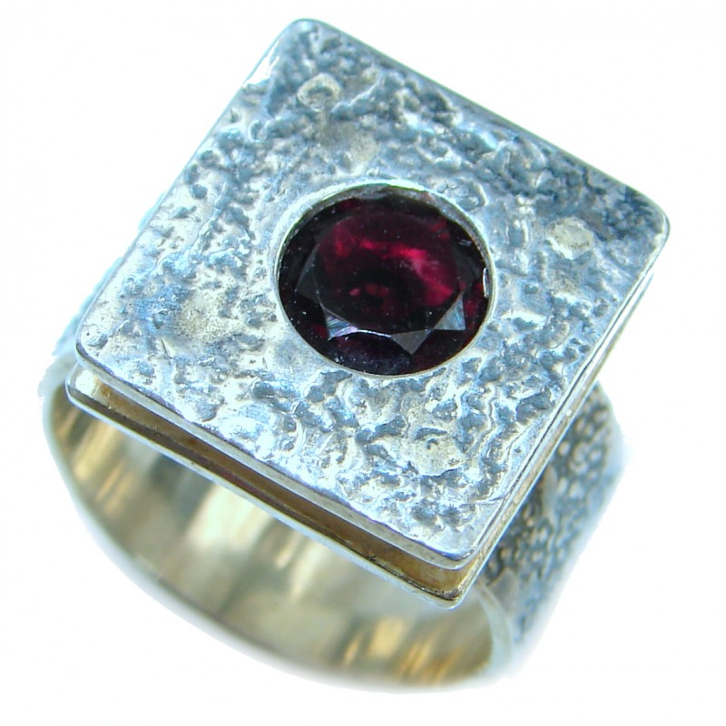 Authentic Garnet .925 Sterling Silver handmade Ring s. 6 adjustable