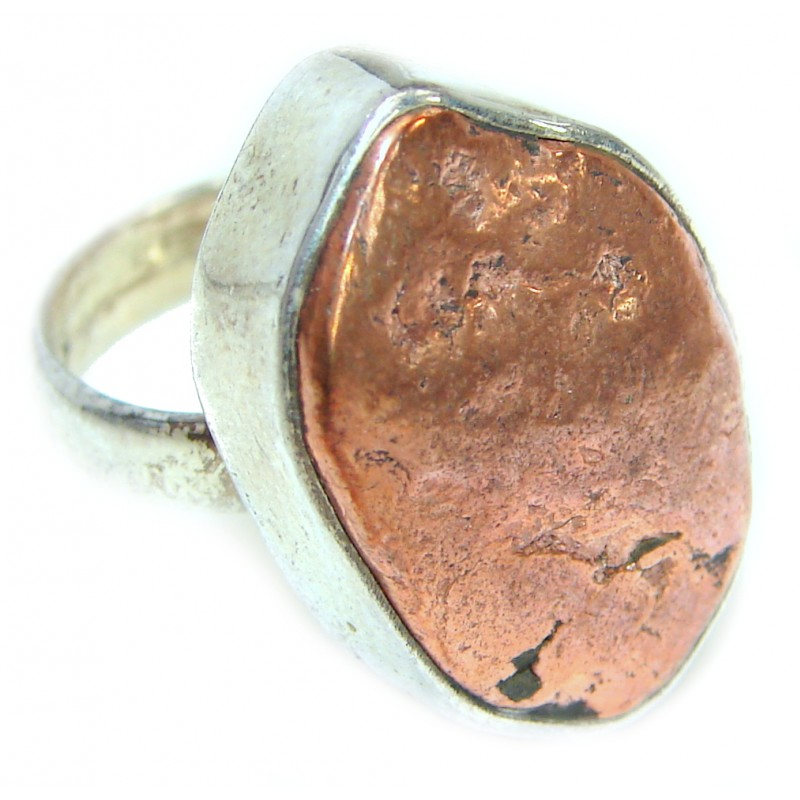Copper .925 Sterling Silver handmade Ring s. 6 adjustable