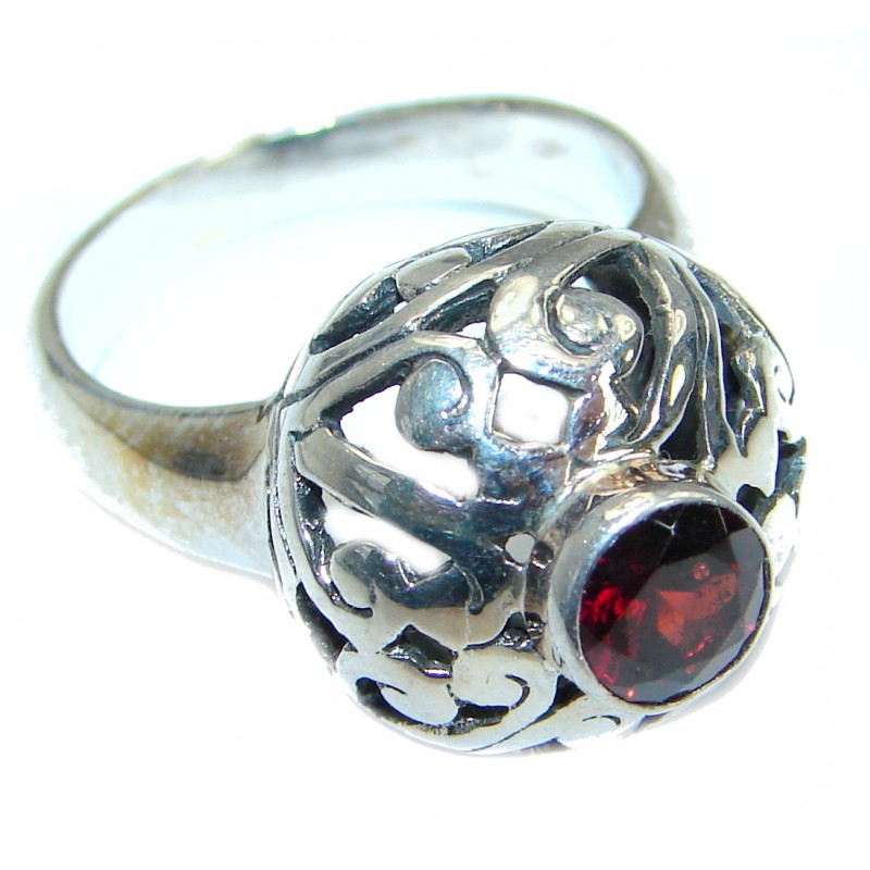 Authentic Garnet .925 Sterling Silver handmade Ring s. 8