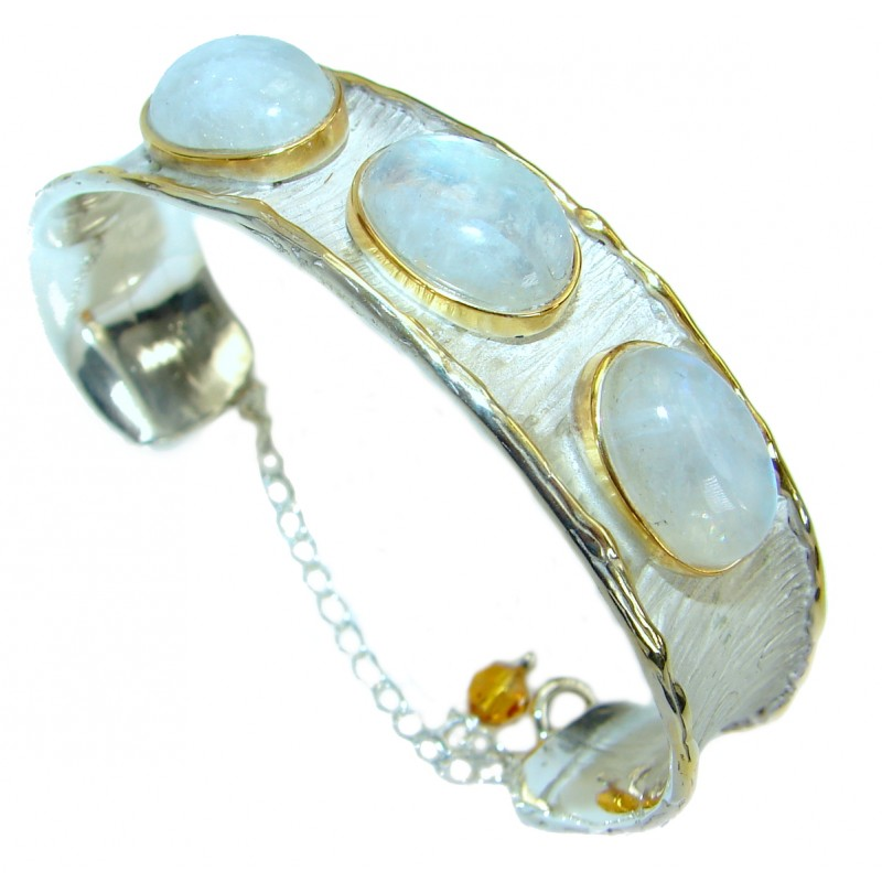 Baroque Design Genuine Moonstone 18ct Gold over .925 Sterling Silver Bracelet / Cuff