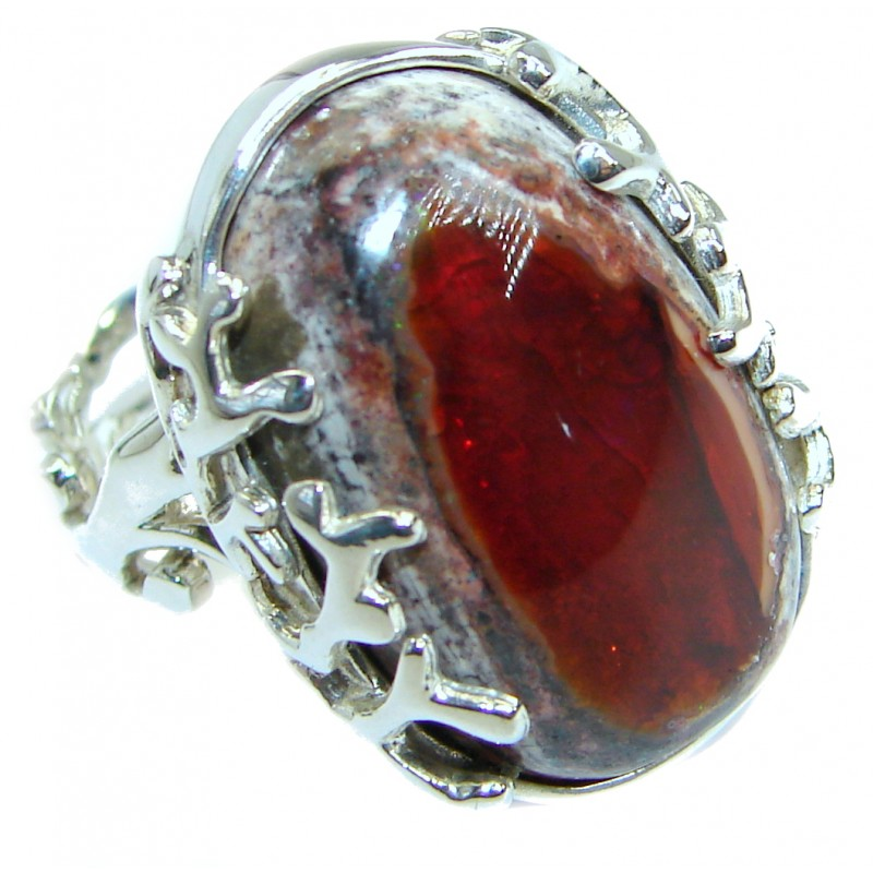 Mexican Opal oxidized .925 Sterling Silver handcrafted ring size 7 adjustable
