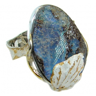 Rustic Design Australian Boulder Opal .925 Sterling Silver handcrafted ring size 9