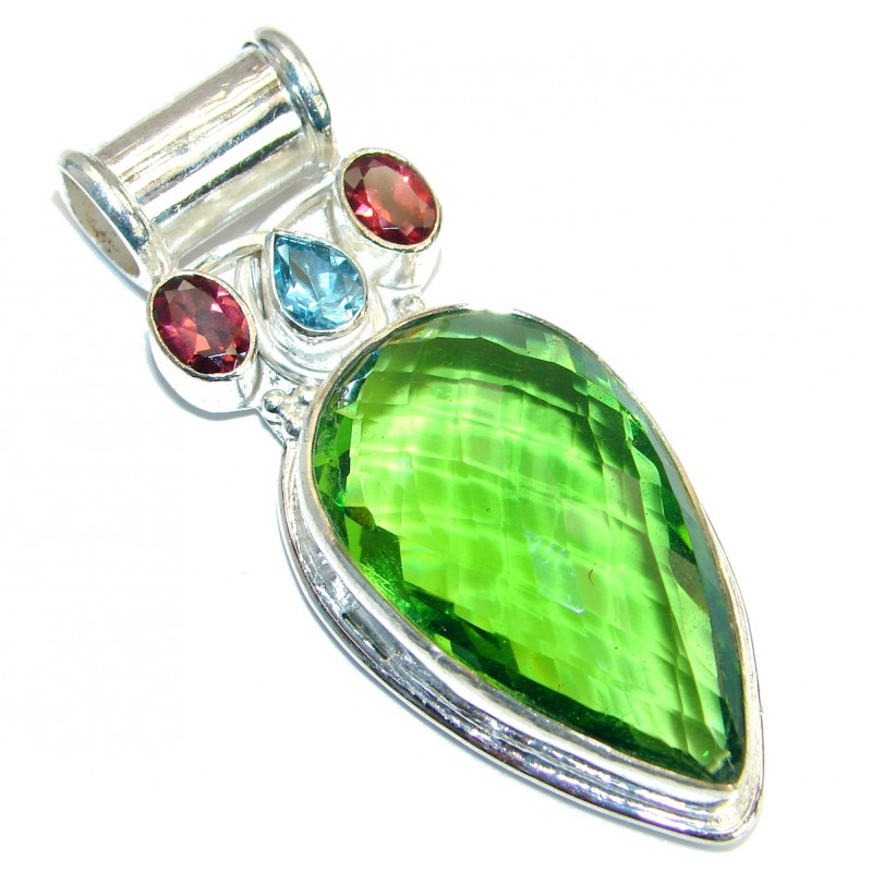 Large Vintage Style Emerald color Quartz .925 Sterling Silver Pendant