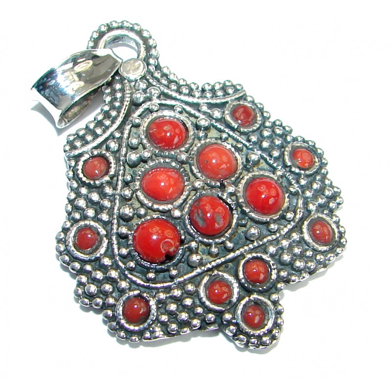 Huge Authentic Red Fossilized Coral .925 Coral Sterling Silver handmade pendant