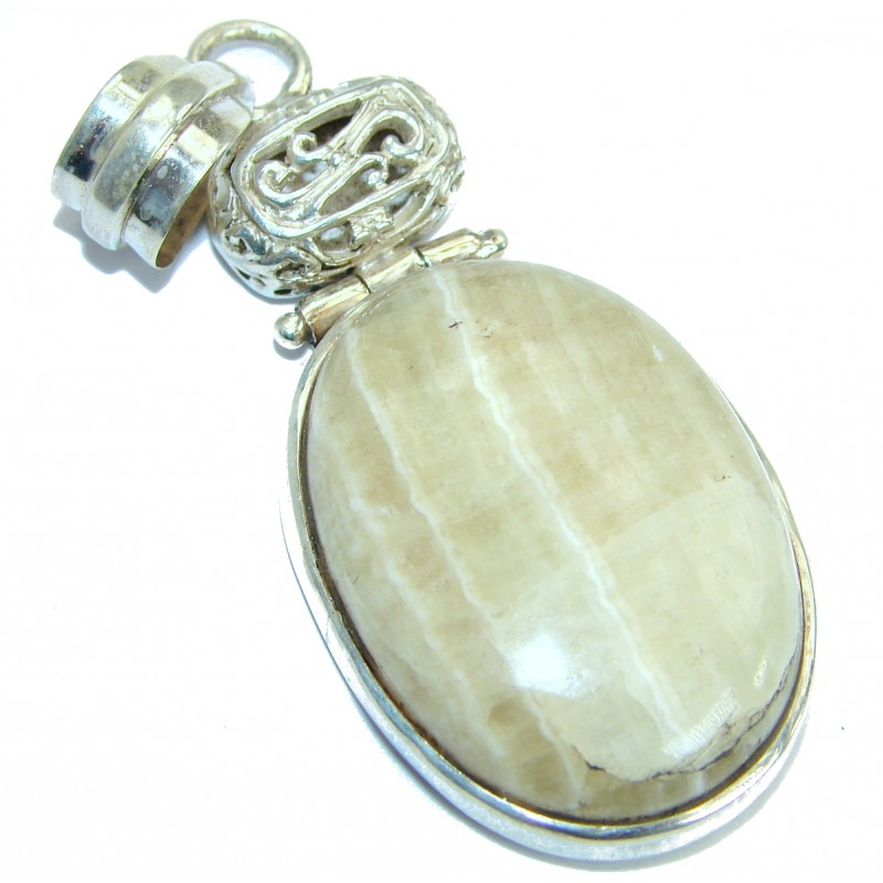 Huge Natural Lace Agate .925 Sterling Silver handmade Pendant