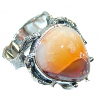 Mexican Opal oxidized .925 Sterling Silver handcrafted ring size 9