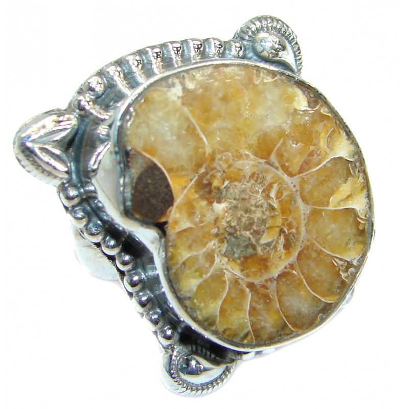 Stylish Brown Ammonite Fossil .925 Sterling Silver Ring s. 7