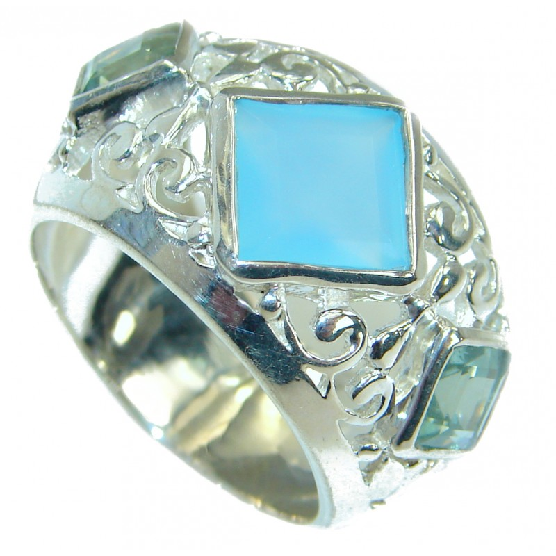 Blue Chalcedony Agate .925 Sterling Silver handcrafted Ring s. 8