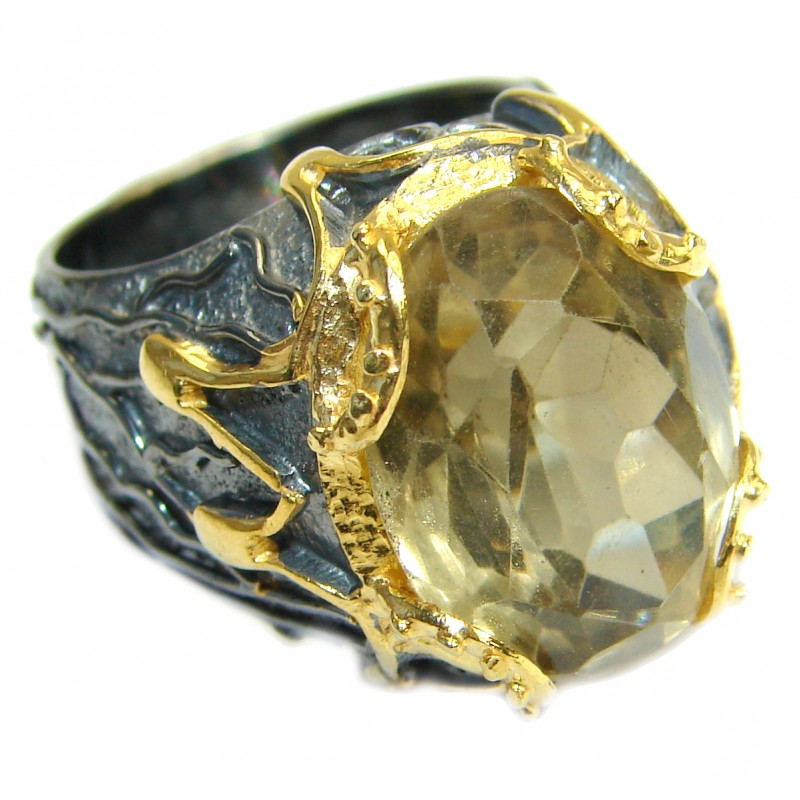 Vintage Style 45 CT Citrine .925 Sterling Silver handmade Cocktail Ring s. 6