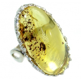 Genuine Butterscotch Baltic Polish Amber .925 Sterling Silver handmade Ring size 7 3/4