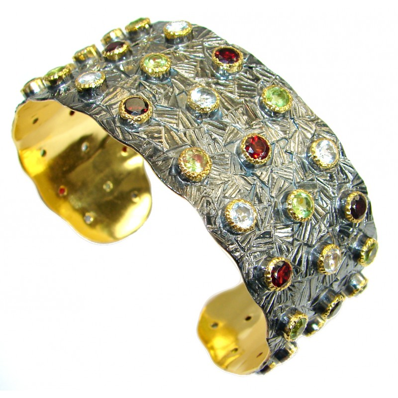 Real Treasure genuine Multigem 14K Gold Rhodium over .925 Sterling Silver handcrafted Bracelet / Cuff