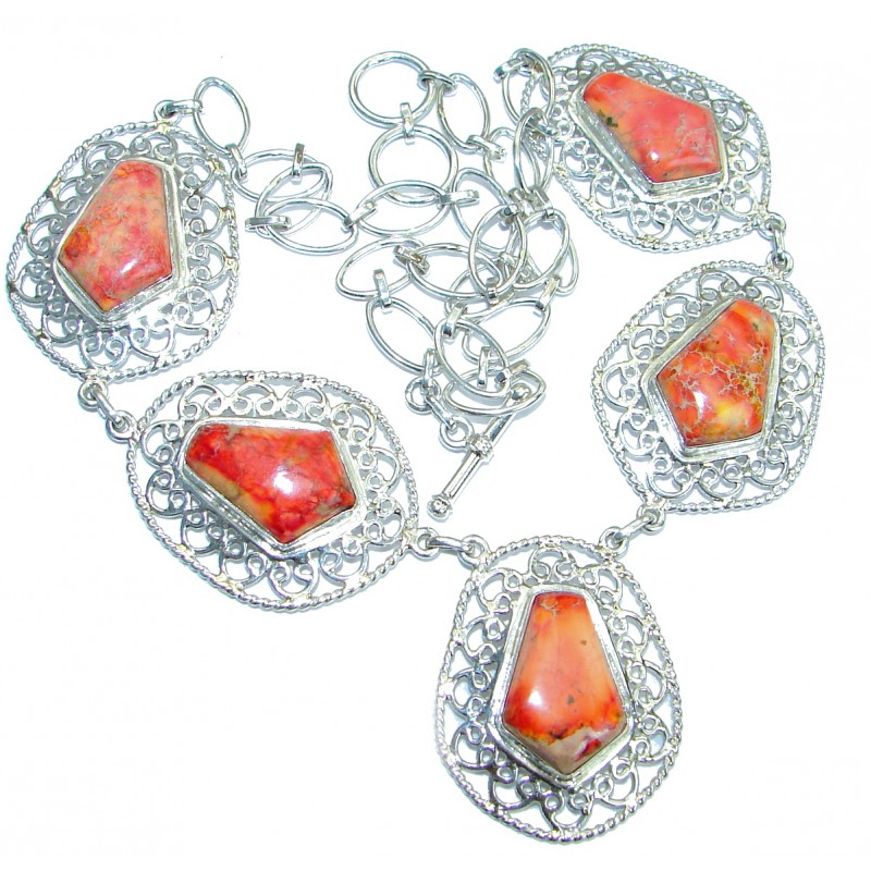 Stella Orange Sea Sediment Jasper .925 Sterling Silver handmade necklace