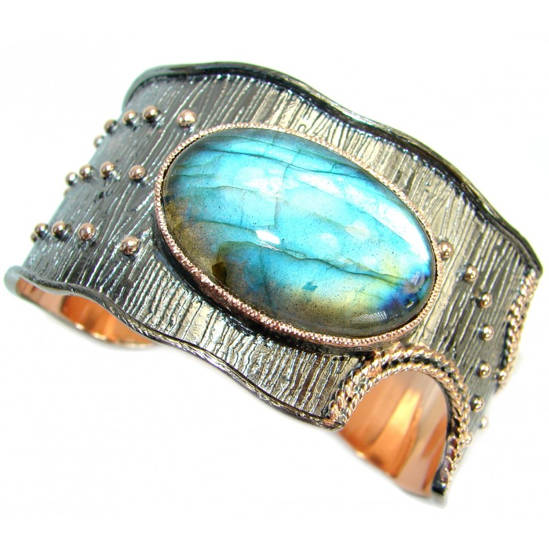 Unique Design Fire Labradorite 18K Gold Rhodium over Sterling Silver handmade Bracelet / Cuff