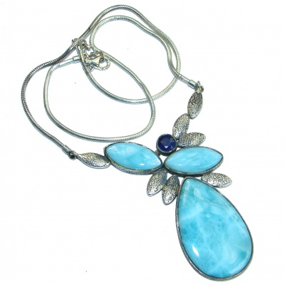 Nature inspired Sublime Larimar oxidized .925 Sterling Silver handmade necklace