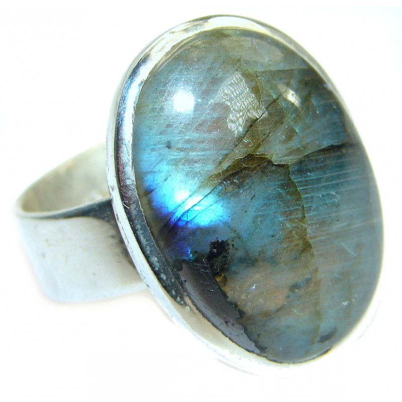 Huge Fire Labradorite .925 Sterling Silver handmade ring size 12