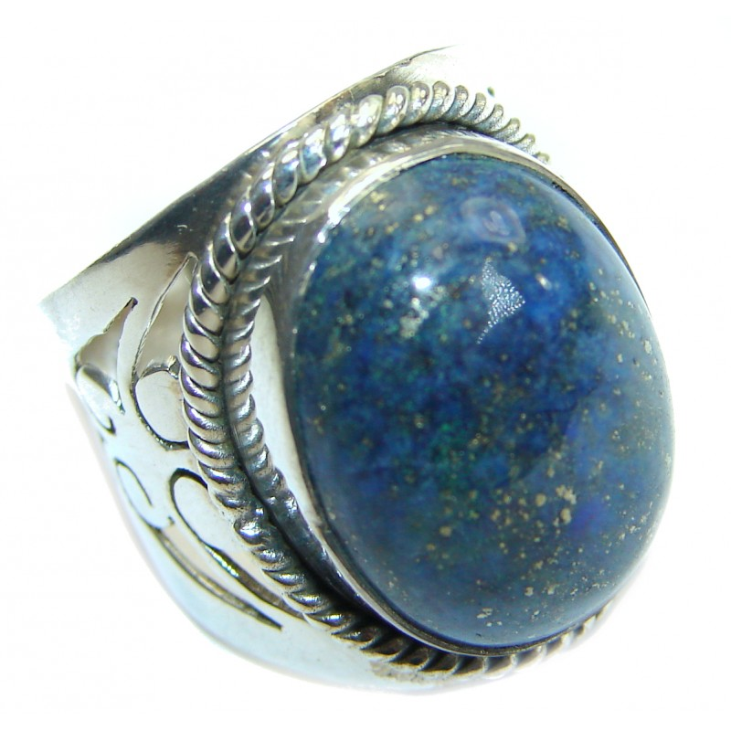 Genuine Lapis Lazuli .925 Sterling Silver handmade Ring size 6