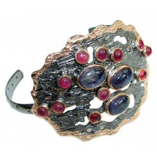 Huge Gift of Nature African Kyanite Ruby .928 Sterling Silver Bracelet/Cuff