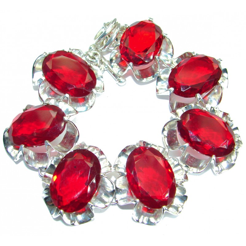 Huge Rich Red Fruit Quartz .925 Sterling Silver handmade Bracelet