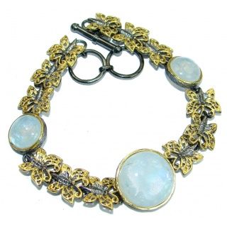 Baroque Style Fire Moonstone 14K Gold Rhodium over .925 Sterling Silver Bracelet