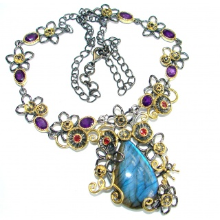 Cascade of Lights Labradorite 14KGold over .925 Sterling Silver entirely handcrafted necklace