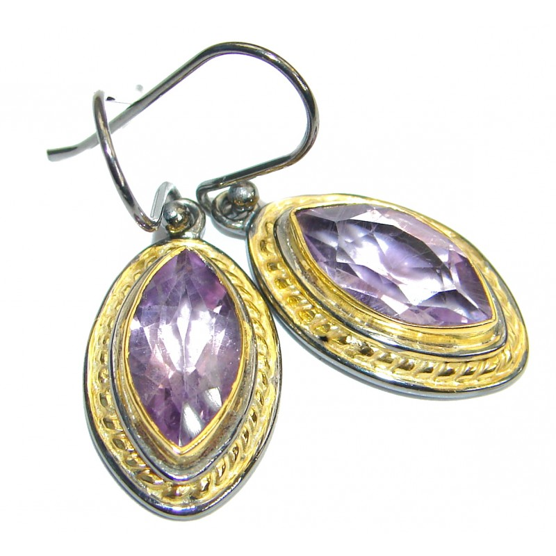 Floral Design Authentic Amethyst Gold Rhodium over .925 Sterling Silver handmade earrings