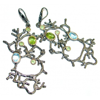 Long Nature Inspired Authentic Topaz Peridot Gold over .925 Sterling Silver handmade earrings