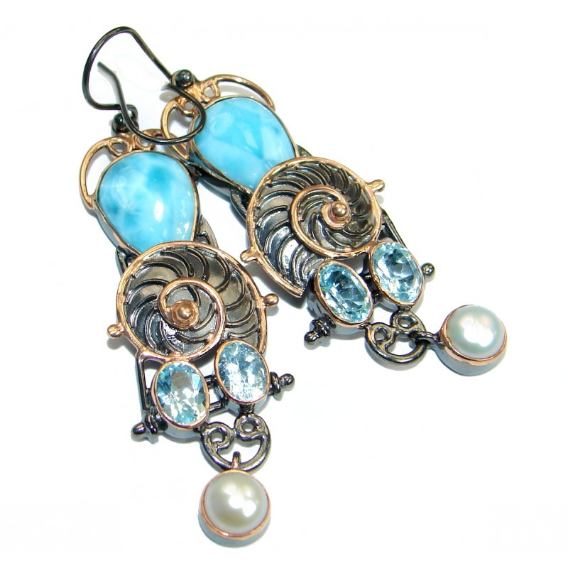 Caribbean Blue Larimar 18K Gold over .925 Sterling Silver handcrafted earrings
