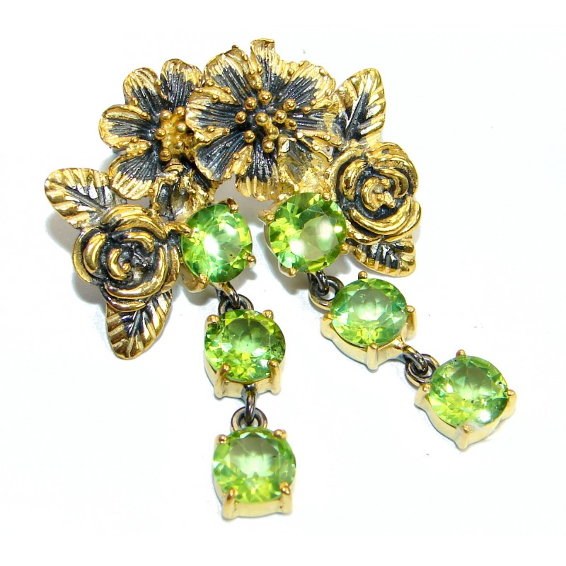 Authentic Peridot Gold over .925 Sterling Silver handmade earrings