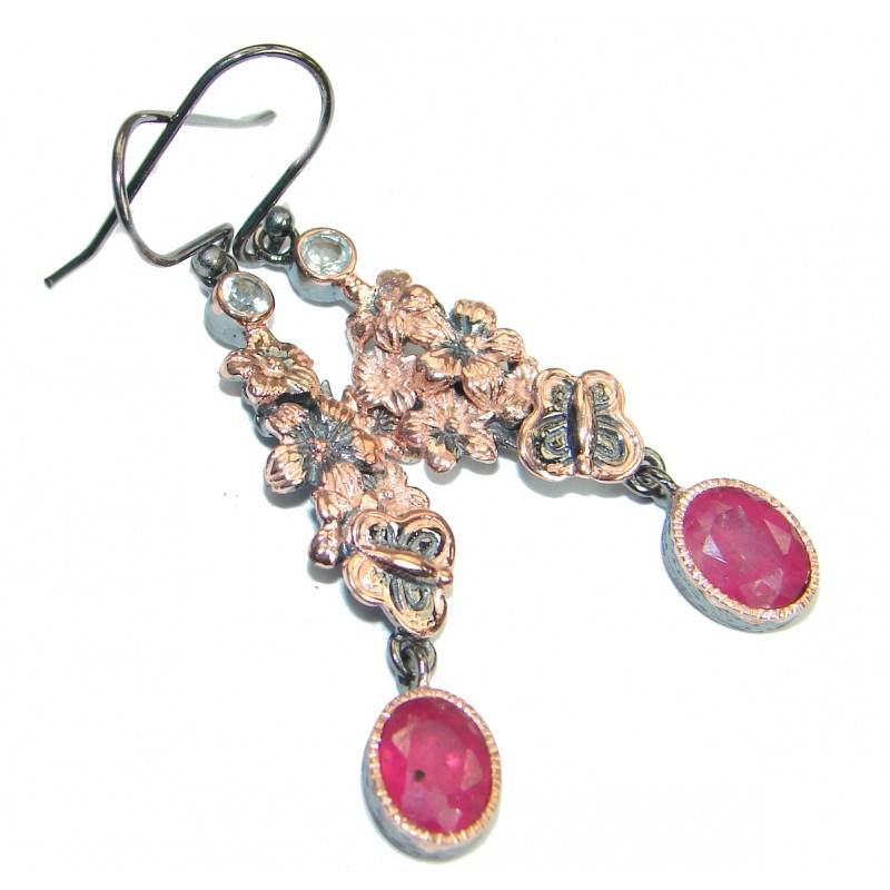 Genuine Ruby 14K Gold Rhodium over .925 Sterling Silver handmade earrings