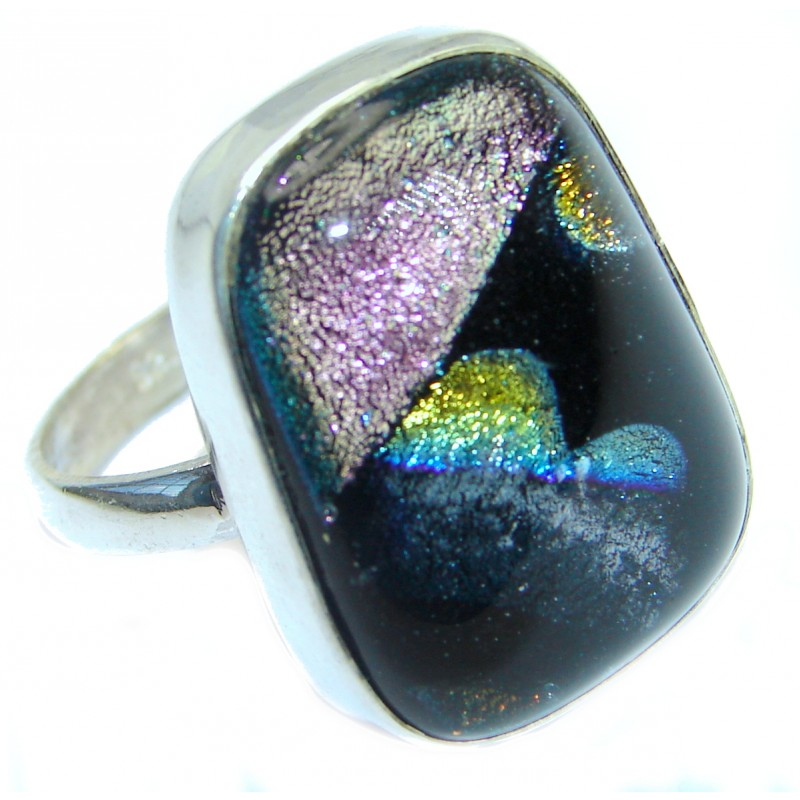 Mexican Dichroid Glass Sterling Silver Ring s. 10 1/4