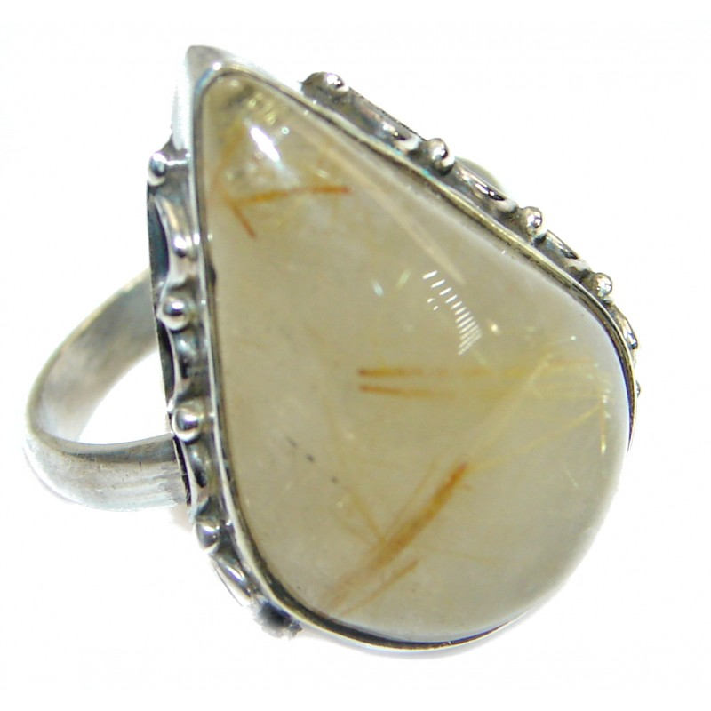 Golden Rutilated Quartz .925 Sterling Silver handcrafted Ring Size 6 1/2