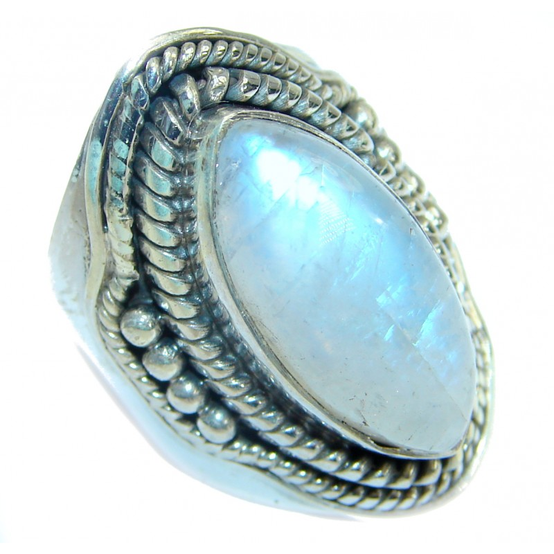 Fire Moonstone oxidized .925 Sterling Silver handcrafted ring size 6
