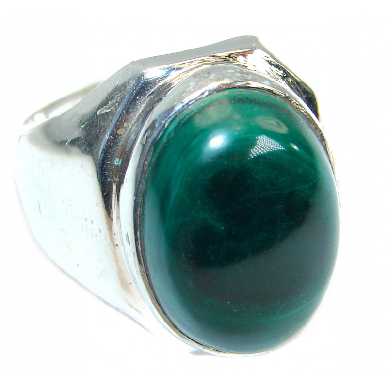 Natural Sublime quality Malachite .925 Sterling Silver handcrafted ring size 9 1/4
