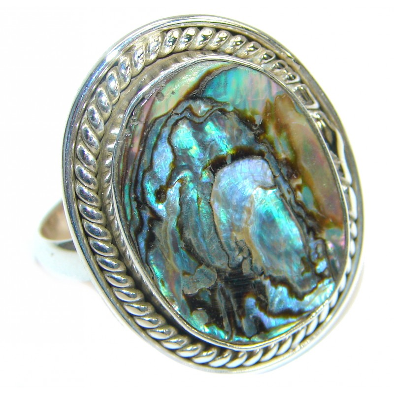 Authentic Rainbow Abalone Sterling Silver handmade Ring s.8 3/4