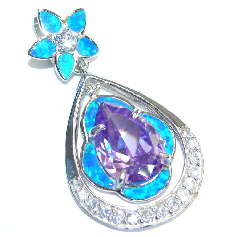 Great Cubic Zirconia Japanese Opal .925 Sterling Silver Pendant
