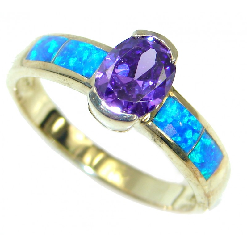 Ultra Fancy Cubic Zirconia Gold plated over .925 Sterling Silver Cocktail ring s. 8 3/4