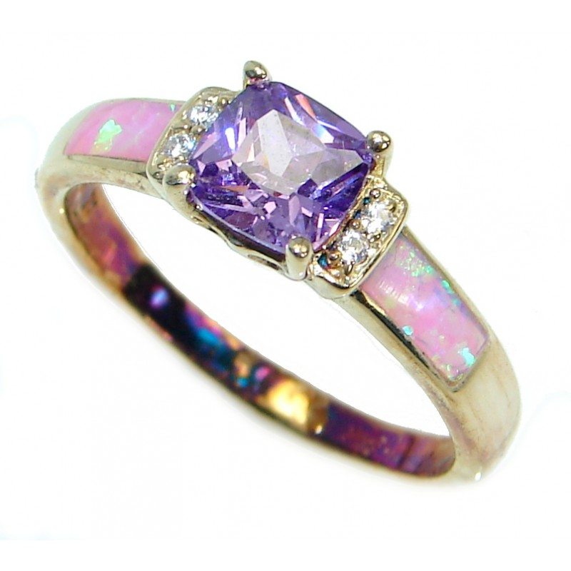 Mesmerizing Japanese Fire Opal Gold over .925 Sterling Silver ring size 8