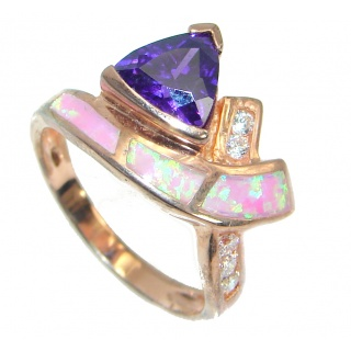 Ultra Fancy Cubic Zirconia Gold plated over .925 Sterling Silver Cocktail ring s. 6