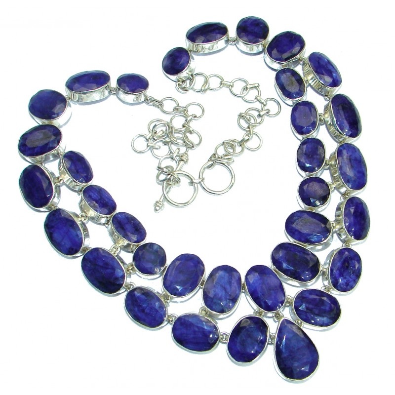 Breath Of Love Sapphire .925 Sterling Silver handcrafted necklace