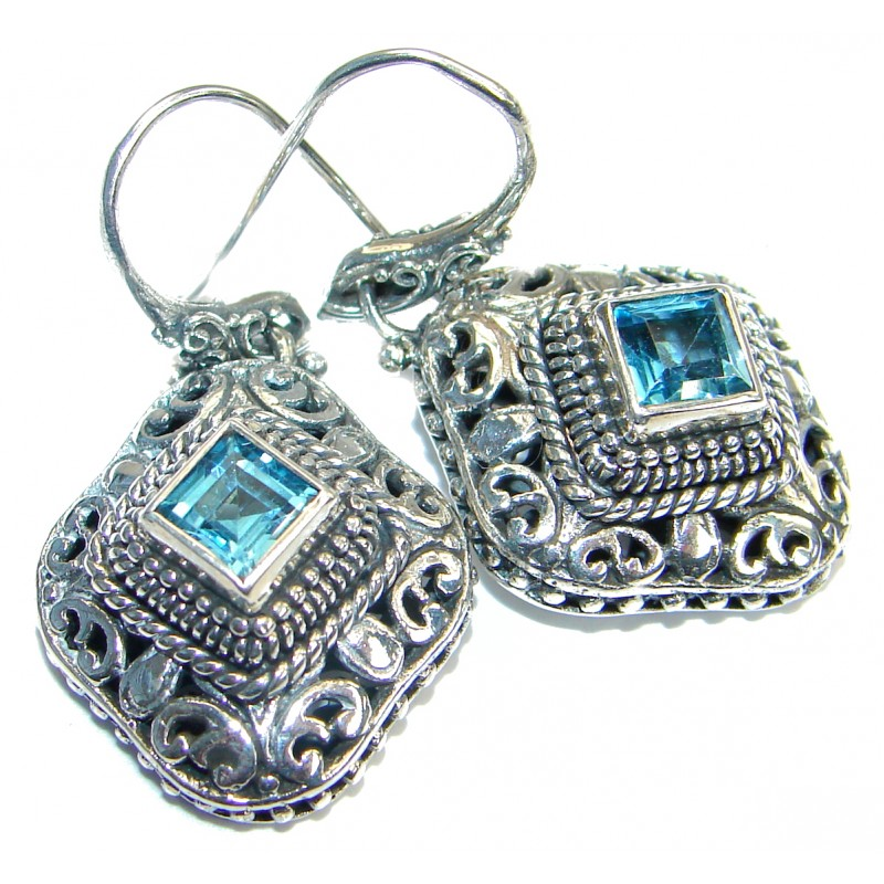 Perfect Swiss Blue Topaz .925 Sterling Silver handmade earrings